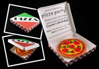 Pizza box Invitation - my daughter got an invitation similar to this one and it is sooo cute! They used small pizza boxes from a pizza place and the info was inside - make your own pizza and slumber/pool party. Cutest invitation I have ever seen and the kids LOVED it. Of course, you have to hand-deliver them.