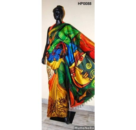 Special Hand Painted Saree The painting on the saree is inspired by the painting of M F HUSSAIN