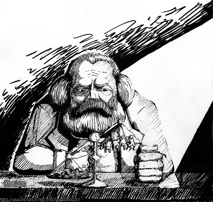 Karl Marx ( sketch with pen )