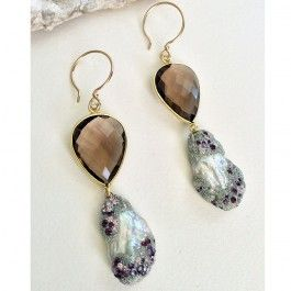 """Kira Koktysh Jewelry Earrings """"Pearl shine"""" $179.99 Earrings (Materials: Gold Plated over Silver Bezelled Smokey Quartz, Glowing White Keshi Pearl Gold-Filled French Hoop)"""