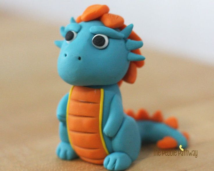 Polymer Clay Dragon or Dinosaur Blue and Orange