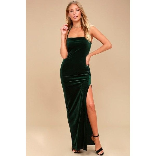Lulus  Crazy Over You Forest Green Velvet Maxi Dress ($64) ❤ liked on Polyvore featuring dresses, beige maxi skirt, maxi skirts, maxi dresses, velvet cocktail dresses and spaghetti-strap maxi dresses