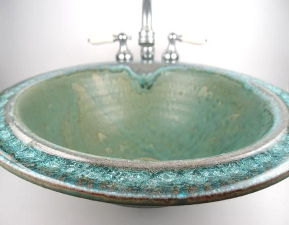 This Beautiful Handmade Ceramic Vessel Sink With Fused Glass Rim Is Custom Order Only Make Your Bathroom Or Water Closet Ceramic Sink Custom Sinks Glass Sink