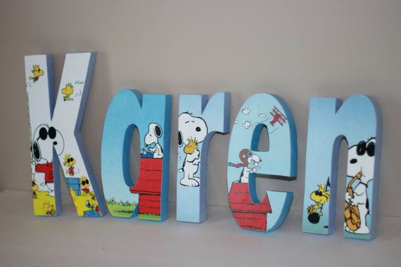 Snoopy and Woodstock Free Standing Custom Wood Letters by Bubzies, $11.00