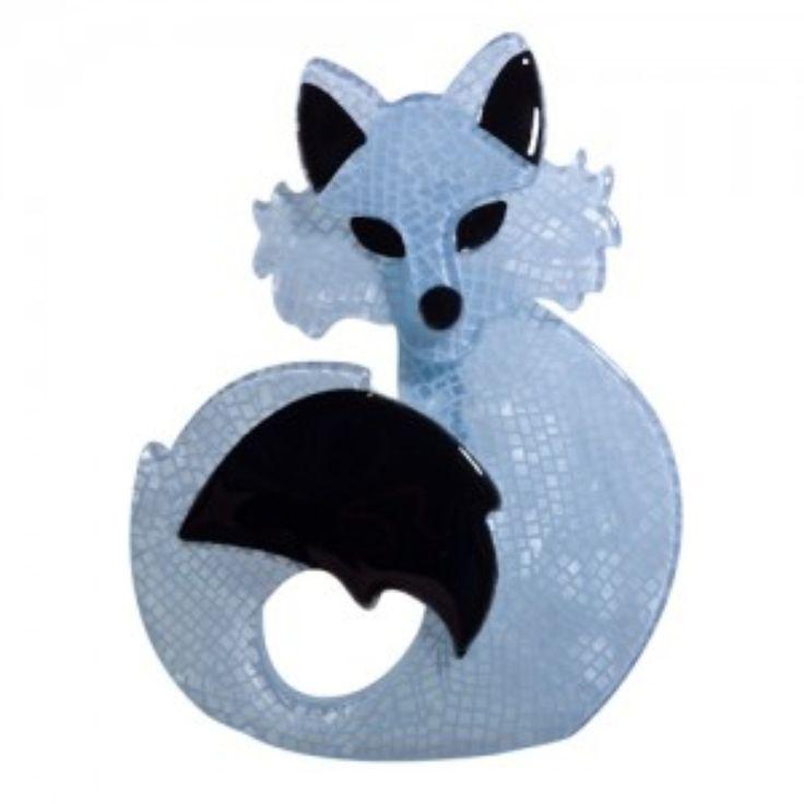 She's So Foxy Blue Brooch by Erstwilder