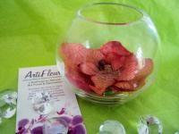 VASE BOULE et son ORCHIDEE rouge dorée fleur artificielle