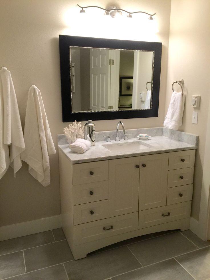 Bathroom Update Remodel On A Budget Benjamin Moore Edgecomb Gray Carrera Marble Home