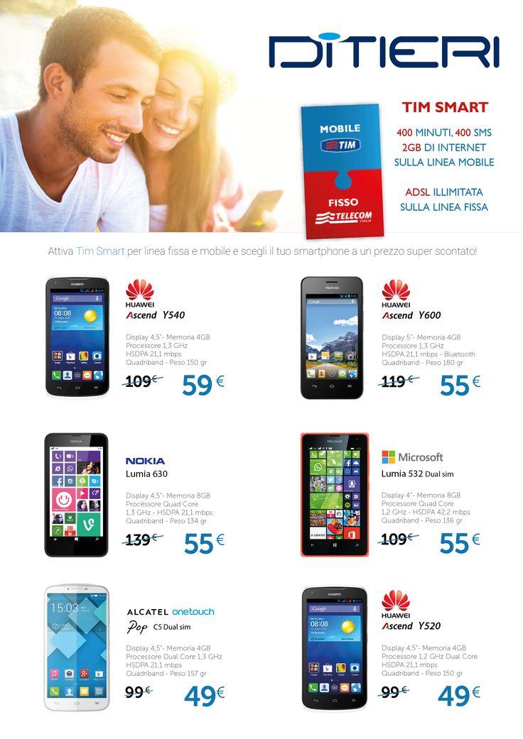 Se attivi TIM SMART, oltre ad avere 400 minuti, 400 sms e 2 GB di Internet sulla linea mobile, hai anche ADSL illimitata sulla linea fissa...e puoi scegliere il tuo smartphone ad un prezzo scontatissimo.