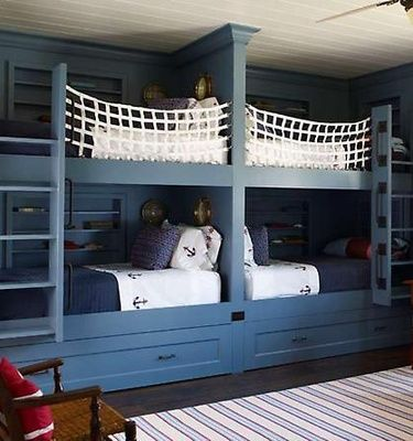 Bunking it - love the nautical theme!