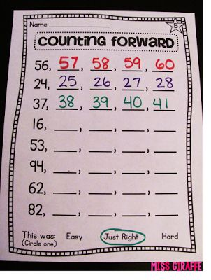Counting forward starting at any number worksheet and centers - amazing!! (Building Number Sense in First Grade)