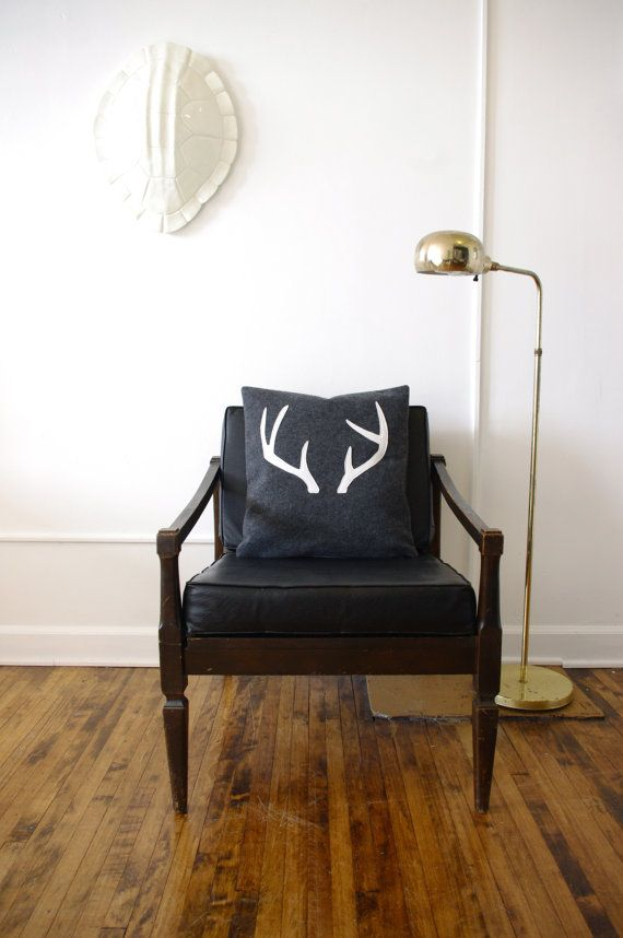 Eco Friendly Decorative Antler Pillow Cover  17X17 by regansbrain, $34.00 - deer pillow