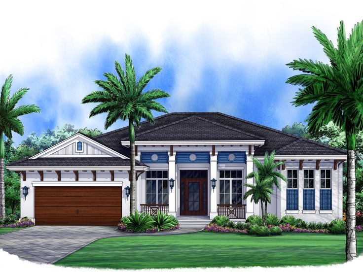3 bed, 3 bath, office, gourmet kitchen, entertaining, pool, spa, outdoor living West Indies House Plan, 037H-0179