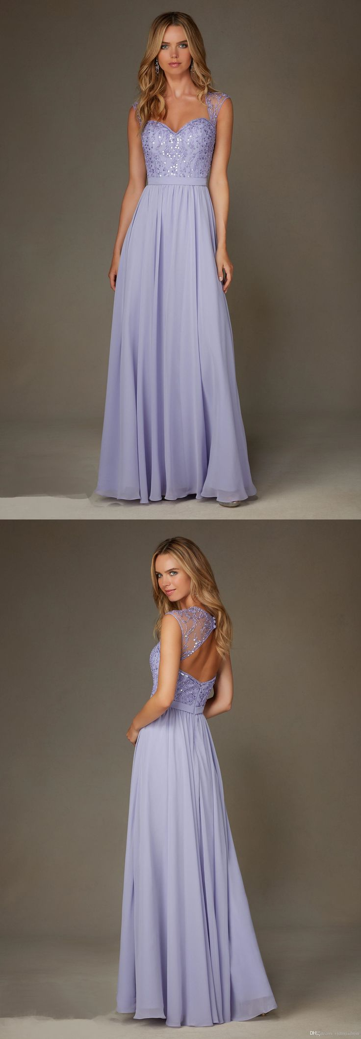 Lilac Bridesmaid Dresses 2016 A Line Sweetheart Beaded Open Back Long Wedding Party Gowns Chiffon Capped Sleeves Dress For Girls Prom