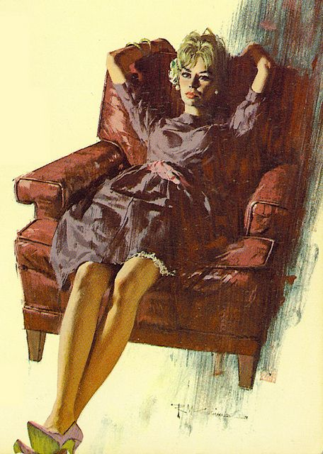"She looks relaxed, like no problems. But like most McGinnis women, no smile either. She was on the cover of the Mike Shayne paperback titled ""Murder and The Married Virgin""."