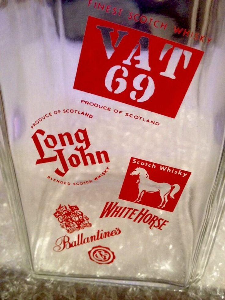 Vintage Whisky Advertising - Spirit Glass Decanter Vat 69 Long John White Horse