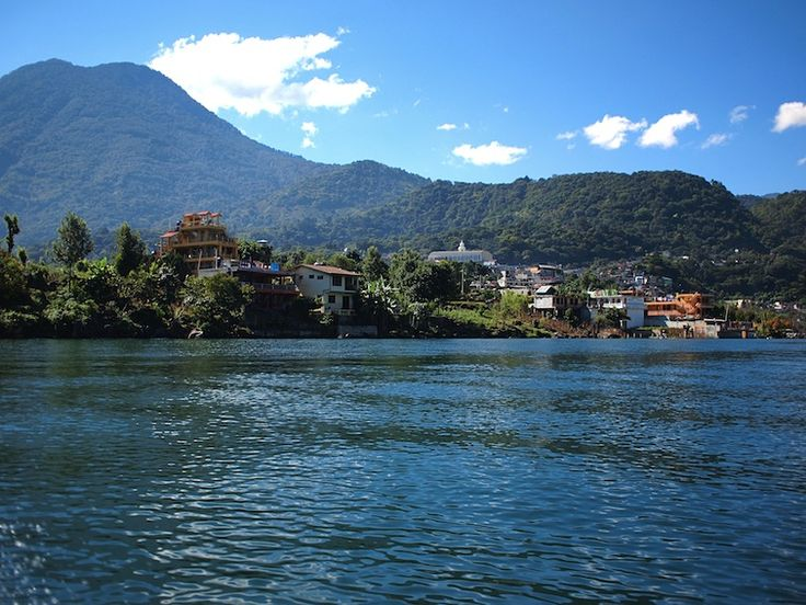 Crossing the Lake Atitlán to San Pedro La Laguna.