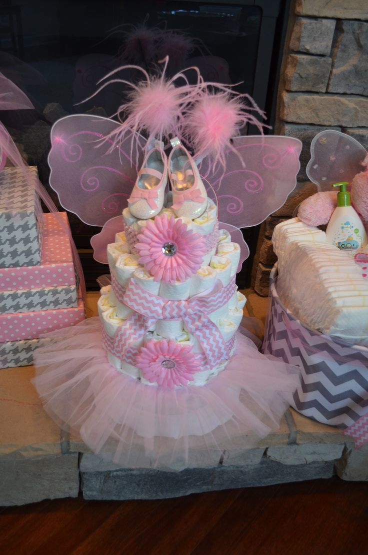 Baby Fairy Diaper Cake - baby tutu, shoes, wings, clips & antlers