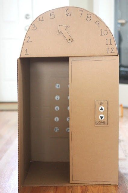 DIY large (kid-sized) cardboard box elevator with push buttons - so cool! From Repeat Crafter Me