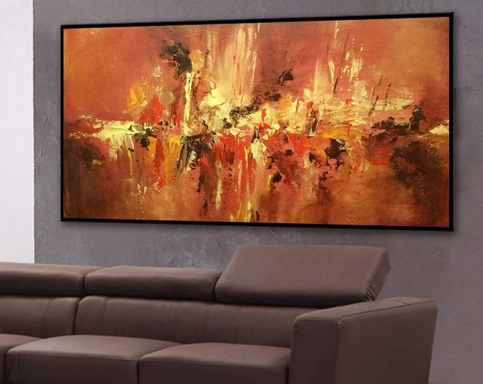 Yellow Floral Splash Abstract CANVAS WALL ART Panoramic Framed Print