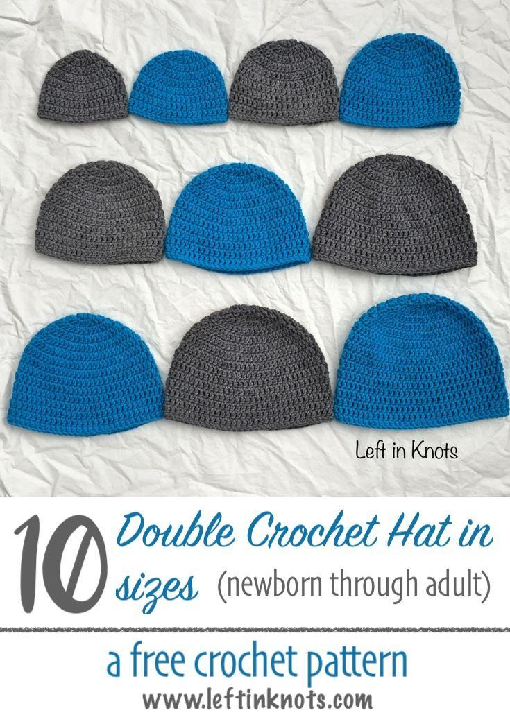 Double Crochet Hat In 10 Sizes Free Pattern For Beginners