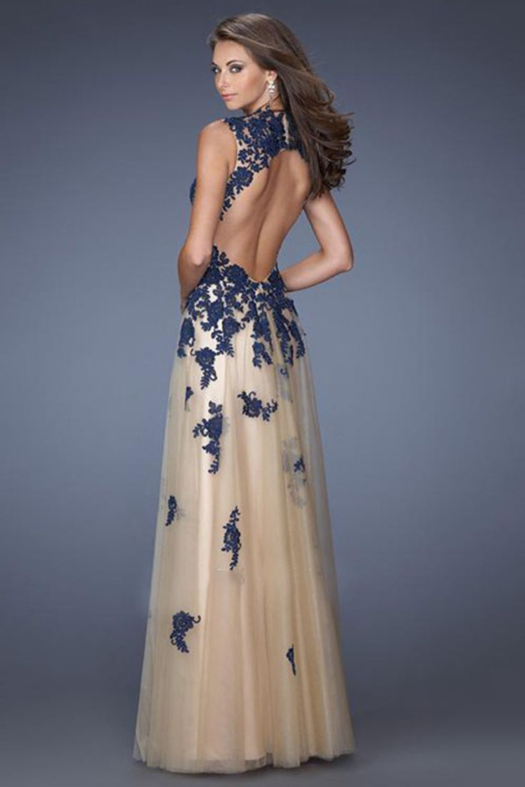 2014 Tulle Prom Dress Straps Open Back Floor Length Lace Bodice With Applique