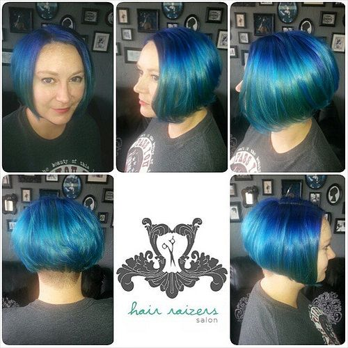 https://flic.kr/p/pZ2JsB | Kris's new retro mermaid haircut and hair color. I did a full foil highlight with PRAVANA pure lite and Olaplex, then bond perfected, color is PRAVANA neon blue and regular vivids blue color melted. Shampoo and conditioner Colorproof Super Rich, Styled wi