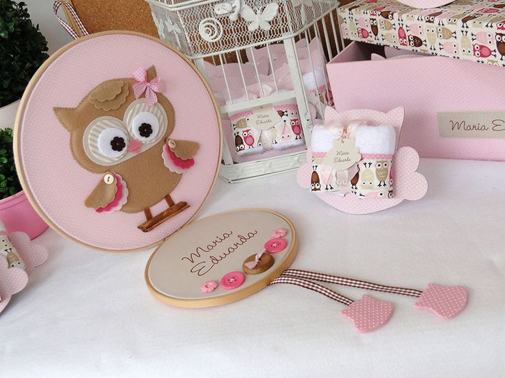 Kit maternidade Corujinha rosa com bege | Débora Radtke | Elo7
