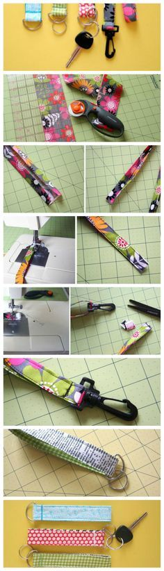 Learn how to make a keychain with this scrap busting sewing idea, the Super Easy Lanyard and Key Chain Wristlet