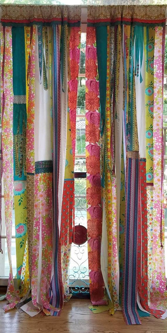 Bohemian Curtains Junk Gypsy Door Panels Boho Patchwork Curtain Festival  Glamping Hippie Vanlife By HollyhockVillage On Etsy