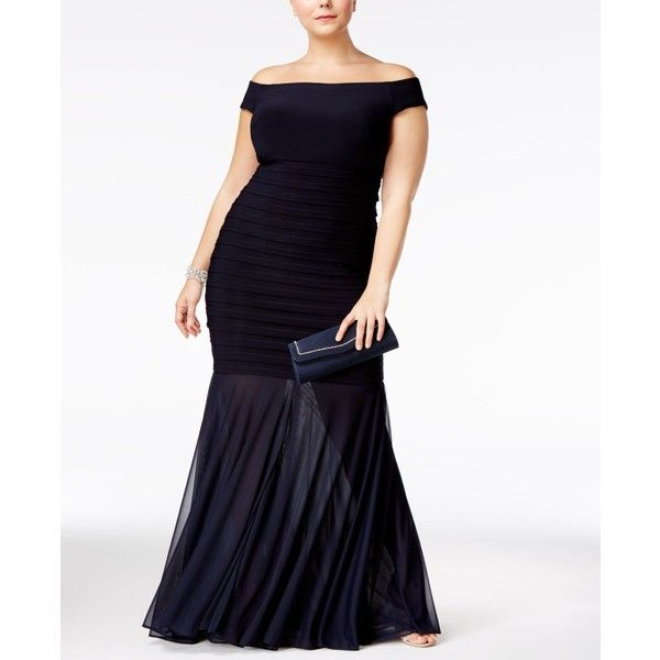 Xscape Plus Size Off-The-Shoulder Mermaid Gown ($249) ❤ liked on Polyvore featuring plus size women's fashion, plus size clothing, plus size dresses, plus size gowns, navy, mermaid gown, white ball gowns, plus size off the shoulder dress, white evening dresses and plus size navy blue dress