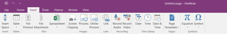 Screenshot of Selecting the Insert Tab in the Uppermost Position (OneNote 2016, Windows 10).  Taken on 25 December 2016.