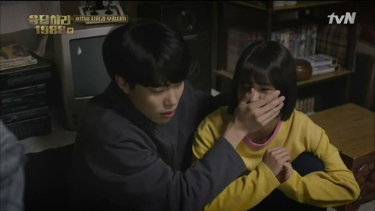 Episode 15: Junghwan clamping his hand over Dukseon's mouth so she wouldn't wake Taek's father