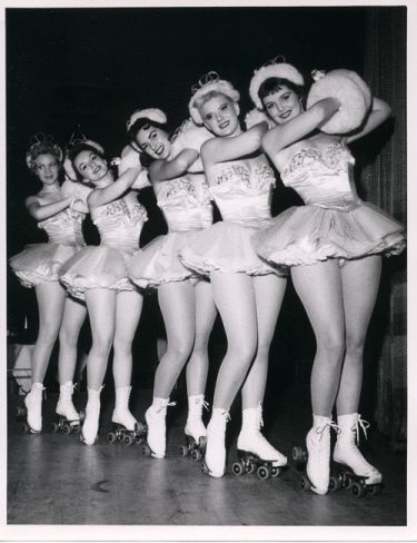 The Copa Girls (on roller skates)  Dunes Hotel, Vintage Las Vegas, 1950s old photo