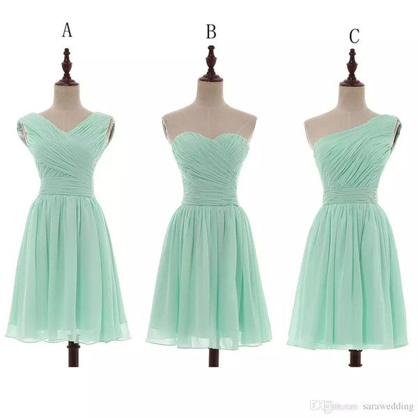 Chiffon Ball Gown Sweetheart Pleated Short Bridesmaid Dresses Mint 2018 Country Bridesmaid Gowns For Wedding Lace Up 100% Real Photo 2018 from sarawedding, $33.32 | DHgate Mobile