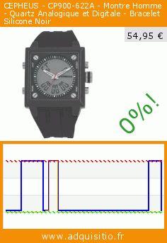 CEPHEUS - CP900-622A - Montre Homme - Quartz Analogique et Digitale - Bracelet Silicone Noir (Montre). Réduction de 72%! Prix actuel 54,95 €, l'ancien prix était de 199,00 €. https://www.adquisitio.fr/cepheus/cp900-622a-montre-homme