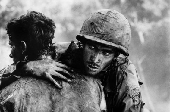 This is a still from the film 'Hamburger Hill', the facing actor is Dylan McDermott, playing a soldier from the 101st Airborne.