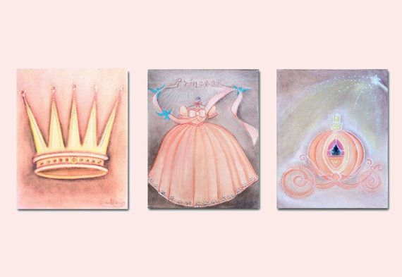 Baby Girl Nursery Princess Wall Art Peach Princess by handpainting, $40.00