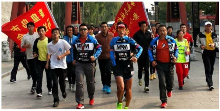 Jason crosses the official finish line for the M5M China Run! #china #greatwall #mannacommunity #m5m #mission5million #mannatechaustralasia