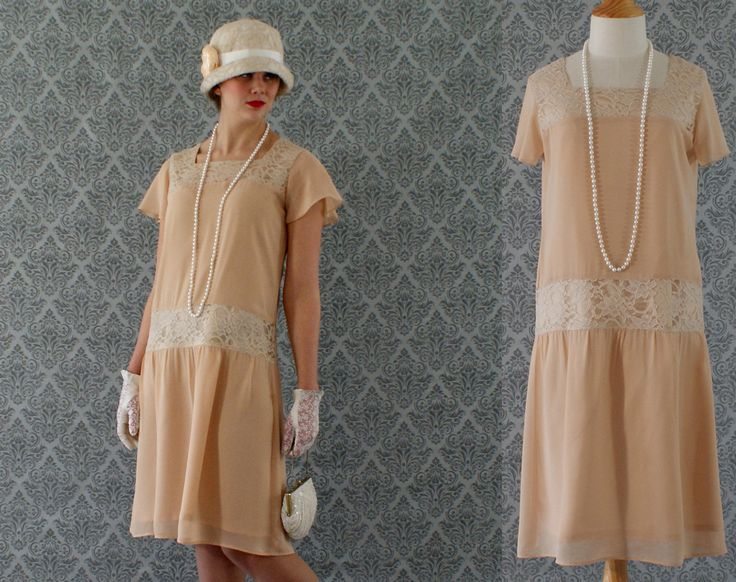 1920s flapper dress in dark beige chiffon by HouseOfRecollections