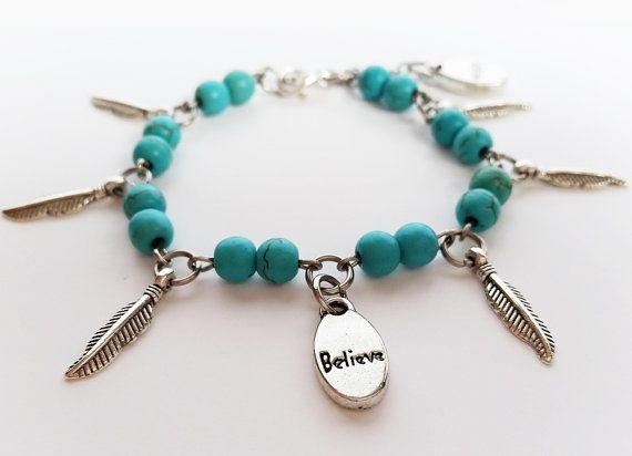 Turquoise charm bracelet. Silver charms. Beaded by totesBOHO