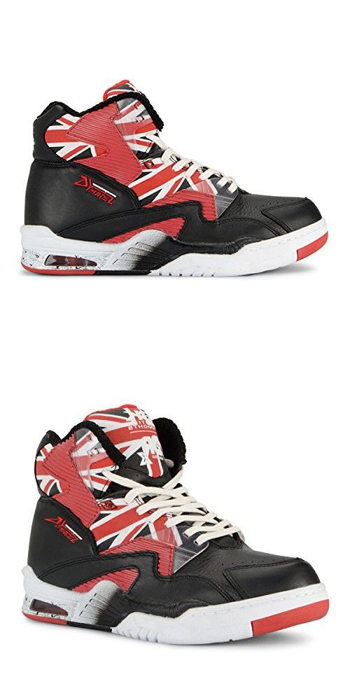 check out b5c85 650ac British Knights Union Doc HI Men s Hi-Top Leather Sneaker Black White Mars  Red, 12.0