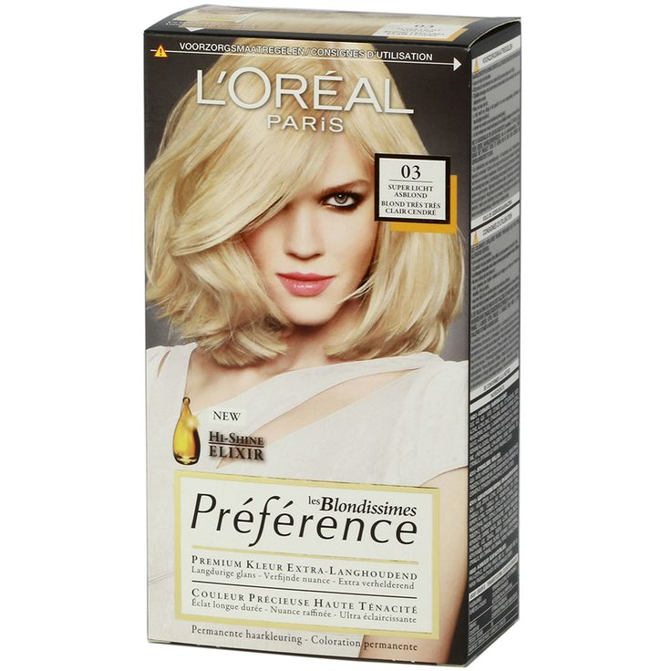 Loreal Preference Blondissimes 03 Super Light Ash Blonde - http://www.transfashions.com/en/beauty-health/hair-care/hair-colors/loreal-hair-colors/preference-blondissimes/loreal-preference-blondissimes-03-super-light-ash-blonde.html Preference Blondissimes is a permanent #haircolor with an extra brightening action that creates a lasting shine. It makes...