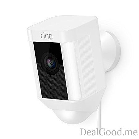 Ring Spotlight Cam Wired: Plugged-in HD security camera with built-in spotlights two-way talk and a siren alarm White