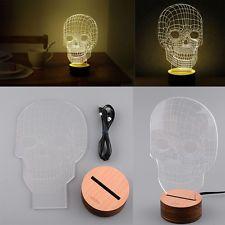 New Hot Unique 3D Skull Mood Bulbing Night Light Led Micro USB Table Lamp Gift