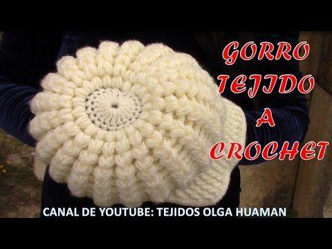 玉編みの帽子 ニットキャスケットの編み方  / How To Crochet * puff stitch newsboy hat (casquette) * - YouTube