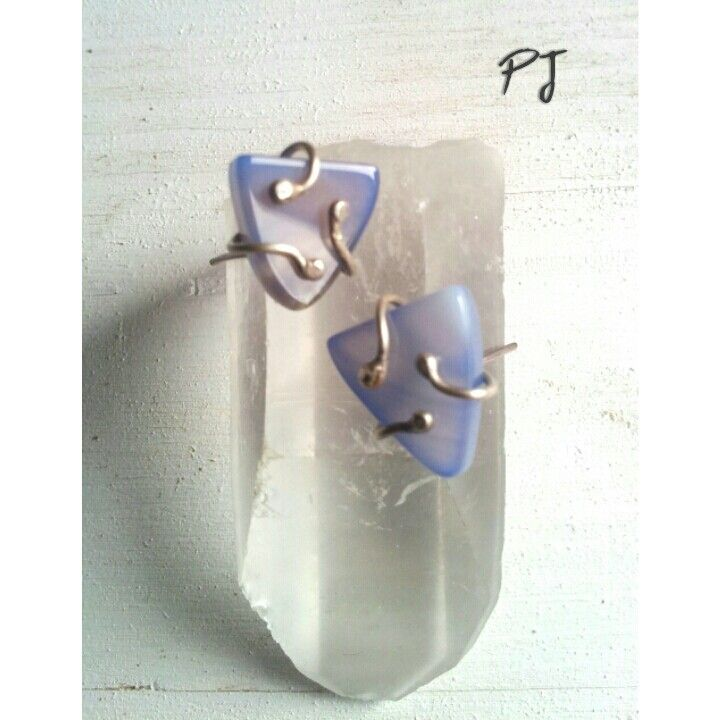 Stud earrings, silver, calcedhony, by PadmaJewels