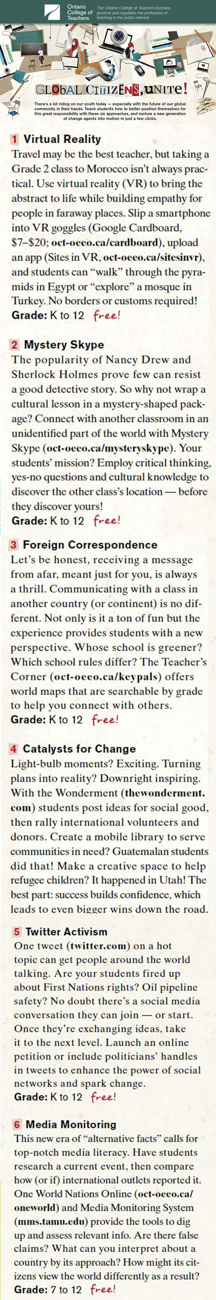 There's a lot riding on our youth today - especially with the future of our global community in their hands. #Teach students how to better position themselves for this great responsibility with these six approaches, and nurture a new generation of change agents into motion in just a few clicks. #edtech #education #teachertools #teacherresources #teachingtools #virtualreality #detective #mystery #communication #activism #media
