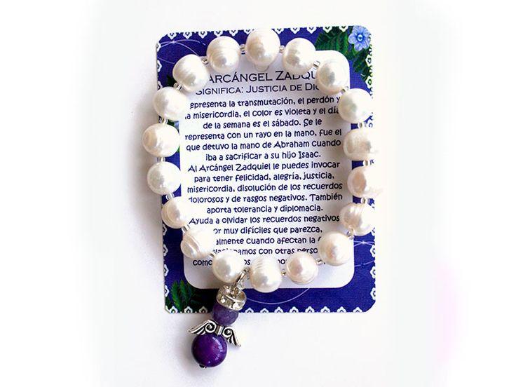 Pulsera Arcangel Zadquiel perla grande Ref. 229