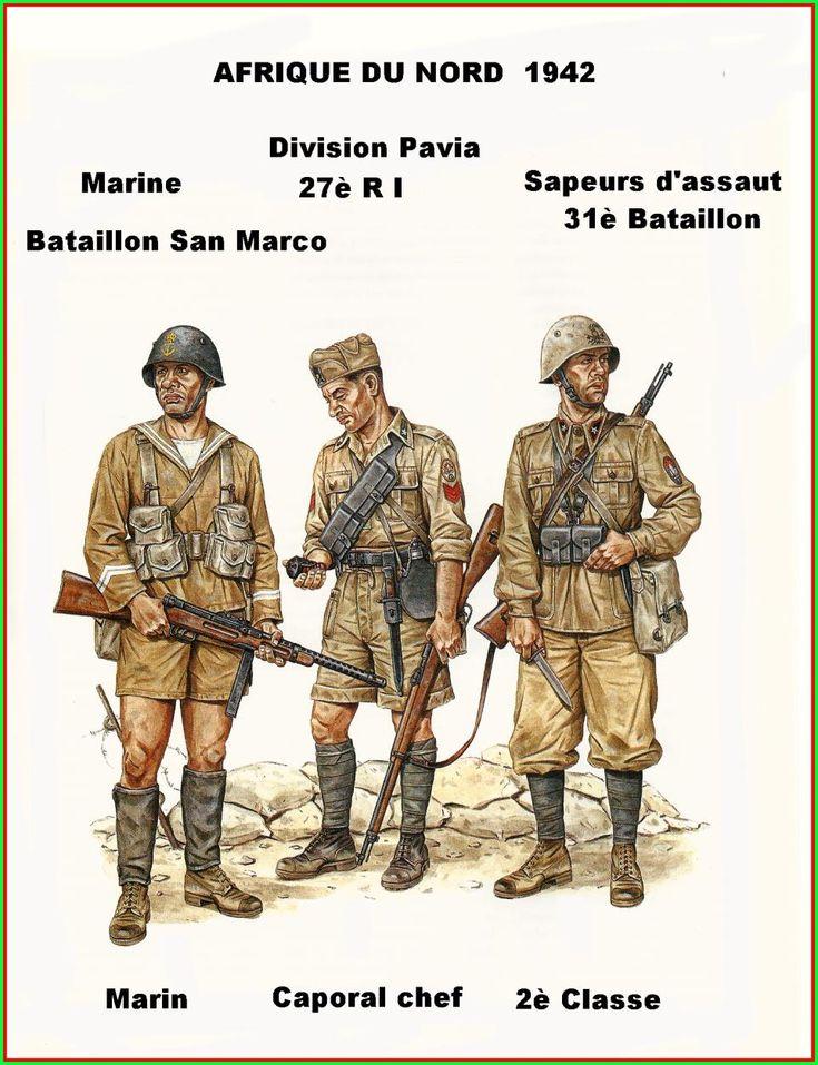 """Regio Esercito - Nordafrica 1942 - Fante di Marina del Battaglione """"San Marco"""" - Caporalmaggiore del 27°Rgmt. Fanteria, Divisione """"Pavia"""" - Soldato semplice del 31° Battaglione del Genio"""