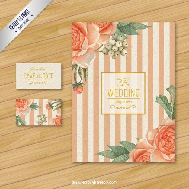 バラとレトロな結婚式の招待状 Premiumベクター